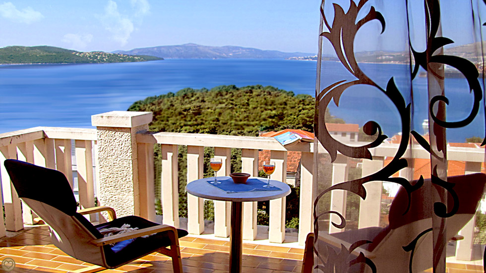 Blick Bucht Terrasse